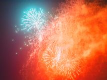 Colorful holiday fireworks in the dark sky. Colorful holiday fireworks glow in the dark sky. Concept of celebration some great happy event Royalty Free Stock Photos