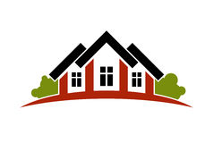 Colorful holiday houses vector illustration, home image with hor Royalty Free Stock Photos