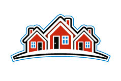 Colorful holiday houses vector illustration, home image with hor Royalty Free Stock Photo