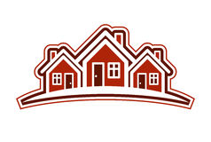 Colorful holiday houses vector illustration, home image with hor Stock Images