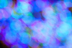 Colorful Holiday Lights Create Blue Bokeh Stock Photography