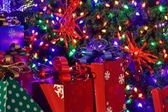 Colorful holidays gift on iluminated Christmas background in International Drive area . Orlando, Florida. November 17, 2018. Colorful holidays gift on royalty free stock images