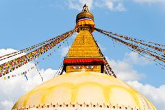 Colorful holy flags on Boudhanath stupa Nepal. Colorful holy flags on Boudhanath temple stupa Kathmandu Nepal Royalty Free Stock Images