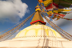 Colorful holy flags on Boudhanath temple stupa. Colorful holy flags on Tibetian Boudhanath temple Kathmandu Nepal Stock Photos
