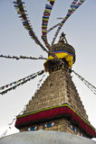 Colorful holy flags on Boudhanath temple stupa Kathmandu Nepal Royalty Free Stock Images