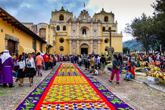 Colorful Holy Week carpet in Antigua, Guatemala. LA MERCED CHURCH, ANTIGUA, GUATEMALA - APRIL 1, 2007: Holy Week carpet (or alfombra) made in the path of a Royalty Free Stock Image