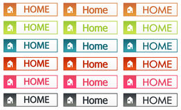 Colorful home buttons set Stock Image