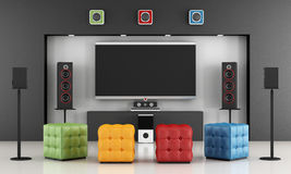 Colorful home cinema. Home cinema room with colorful pouf and TV set - 3D Rendering Stock Images
