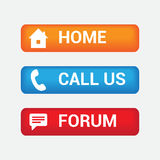 Colorful Home Forum and Call us Buttons Royalty Free Stock Images
