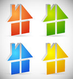 Colorful home, house icons, logos to illustrate real estate, Stock Photo