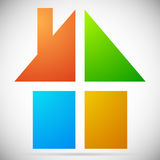 Colorful home, house icons, logos to illustrate real estate, Stock Images