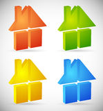 Colorful home, house icons, logos to illustrate real estate, Royalty Free Stock Photos