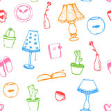 Colorful home interior decor doodles seamless Stock Images