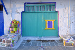 Colorful home in Klima village. Exterior of colorful painted home in Klima village on Milos island, Greece royalty free stock photos