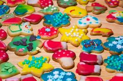 Colorful Homemade Christmas cookies background Stock Image