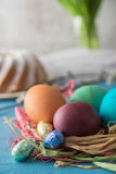 Colorful homemade painted easter eggs Royalty Free Stock Images