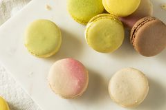 Colorful Homemade Sweet French Macarons royalty free stock photography