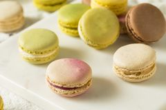 Colorful Homemade Sweet French Macarons stock image