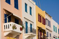 Colorful homes with balconies Stock Photos
