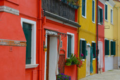 Colorful Homes in Burano Italy Stock Photo