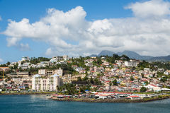 Colorful Homes and Condos up Hill in Martinique Stock Photography