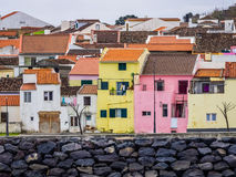 Colorful homes of Ponta Delgada Royalty Free Stock Images