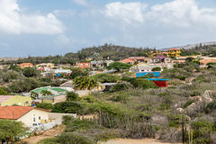 Colorful Homes up Hill in Aruba Royalty Free Stock Images