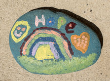 Colorful hope rock. Childlike vision of hope on a rock Royalty Free Stock Photo