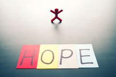 Colorful hope word and single person Stock Photography