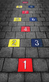 Colorful Hopscotch Game Playground stock photos