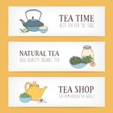 Colorful horizontal banner templates with hand drawn traditional Japanese tetsubin kettle, ceremonial cups, teapot and. Different types of tea. Vector Stock Photos