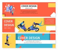 Colorful Horizontal Banners Set with Copy Space. vector illustration