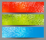 Colorful horizontal banners with square. Motive stock illustration