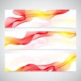 Colorful Horizontal Set Of Banners smoky waves Stock Photos