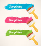 Colorful horizontal trails - 2. Three colorful paint brushes leaving a horizontal trail - 2 royalty free illustration
