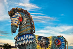 Colorful horse. And blue sky Royalty Free Stock Photos