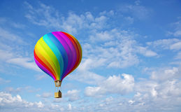 Colorful hot air ballon in the blue sky. 3d colorful Hot Air Balloon in the blue sky and reflection in water Royalty Free Stock Photography