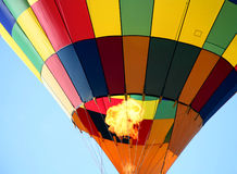 Colorful Hot Air Balloon. Closeup with Fire Royalty Free Stock Photos