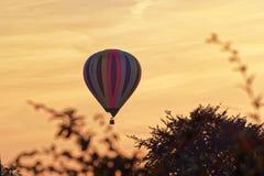 Colorful hot air balloon against sky at sunset. Hamburg, Germany stock image