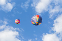 Colorful hot air balloon. On blue sky Stock Images