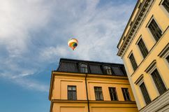 Colorful hot air balloon in blue sky, Stockholm, Sweden royalty free stock photos