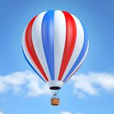 Colorful hot air balloon 3d illustration. Isolated over sky background Royalty Free Stock Photos