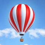 Colorful hot air balloon 3d illustration. Isolated over sky background Stock Photography