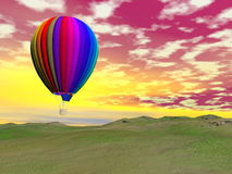 Colorful hot air balloon - 3D render Stock Images