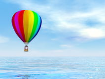 Colorful hot air balloon - 3D render. One colorful hot air balloon flying upon water by blue day - 3D render Royalty Free Stock Photo