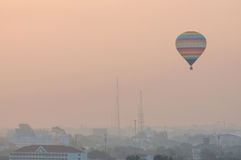 Colorful Hot Air Balloon in Early Morning Flight Royalty Free Stock Images