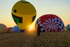Colorful hot air balloon early in the morning Royalty Free Stock Photo