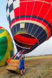 Colorful hot air balloon early in the morning Stock Image