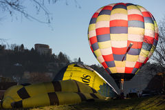 Colorful hot air balloon. In flame propane Royalty Free Stock Photos