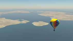 Colorful hot air balloon. Fly over the blue sea. This is a 3d render illustration Royalty Free Stock Photography